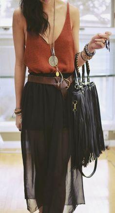 Sleeveless Chiffon Maxi Skirt Dress