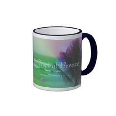 Tropical Breeze Ringer Coffee Mug by MoonDreams Music #kitchen #mug #coffee #tea #tropical #island #beach #ocean