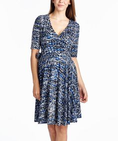 Love this Blue Abstract Maternity/Nursing Surplice Dress on #zulily! #zulilyfinds