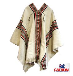 Poncho Mapuche blanco