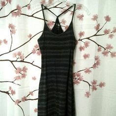 """Mountain Hardwear Tank Dress S/XS I accidentally put this in the dryer on high and now it fits more like an extra small than a small. My loss is your gain. Built in shelf bra, strappy racer back style, machine wash, tumble dry LOW. Very soft fabric, I believe a cotton/Lycra blend. Measurements lying flat, bust 14"""", length 36"""" comes from a smoke-free, pet-free home. Mountain Hard Wear Dresses"""