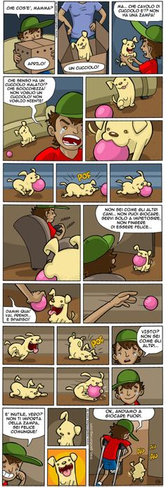 Comics usually make us laugh. But this comic about a 3 legged dog just might make you cry. In a good way This is going crazy viral right now! Well done, Mentirinhas. Dog Comics, Funny Comics, Comics Story, Cute Stories, Sweet Stories, Sad Dog Stories, 3 Legged Dog, Try Not To Cry, Touching Stories