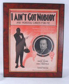 Sheet Music FRAMED 1916 I Ain't Got Nobody Paul Biese Black Americana Walnut