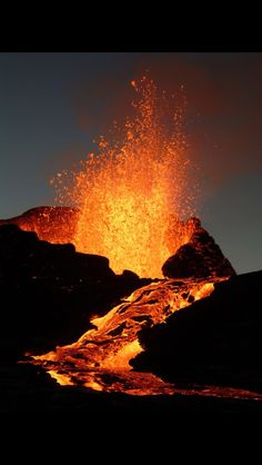 Erupting volcano, Hawaii