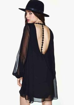 Black Plain Embroidery Long Sleeve Loose Polyester Dress