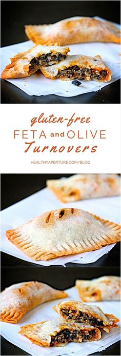 One of the best #glutenfree appetizer recipes ever, these crisp turnovers are packed with a rich feta and black olive filling. You only need crust plus 3 simple ingredients to have a party worthy pastry. #cleaneating