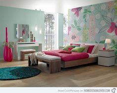 flower to ceiling accent wall of flowers - beautiful