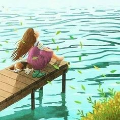 Girl and her dog by the lake illustration Mode Poster, Poster S, Anime Art Girl, Cute Illustration, Belle Photo, Cartoon Art, Cute Drawings, Aesthetic Art, Cute Art