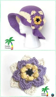 Crochet Summer Joy Sun Hat Free Pattern- Crochet Girls Sun Hat Free Patterns