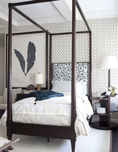 Guest Bedroom by Thomas O'Brien with linen wall home design designs house design interior design house design Home Bedroom, Master Bedroom, Bedroom Decor, Bedroom Ideas, Bedroom Furniture, Kids Bedroom, Budget Bedroom, Bedroom Themes, Plywood Furniture