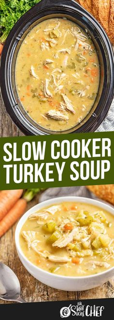 Mar 21 2020 This easy and satisfying Slow Cooker Turkey Soup lets you use up yo. Mar 21 2020 This easy and satisfying Slow Cooker Turkey Soup lets you use up your leftover turkey in an easy soup tha Slow Cooker Turkey Soup, Crock Pot Slow Cooker, Slow Cooker Recipes, Soup Crockpot Recipes, Best Soup Recipes, Chicken Recipes, Leftover Turkey Recipes, Leftovers Recipes, Turkey Leftovers