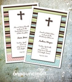 Brown Cross and Stripes First Communion Invitations plus party planning tips, matching party favor boxes and note cards | Shop our entire collection at Announcingit.com