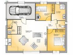 Plan de maison Open Plain-pied 70 Tradition : Vignette 1 Small House Plans, Good Company, Vignettes, Bungalow, Floor Plans, Loft, Architecture, How To Plan, Design