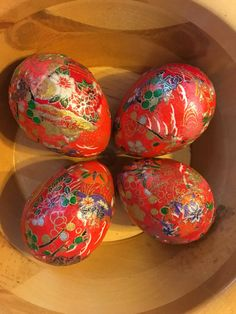 Red and Gold Decoupage Paper Mache Easter Eggs Origami Paper: Set of Four by VioletVox on Etsy