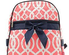 f71da5810a73 Vine Print Quilted Backpack Coral and White with Navy Blue Trim