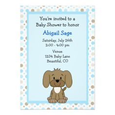 Handsome brown puppy baby shower favor sticker babies brown and cute brown puppy dog on blue boys baby shower card filmwisefo Image collections