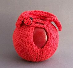 Red Hand Knit Cotton Apple Cozy with Lucky Ladybug Button * Be sure to check out this awesome product.
