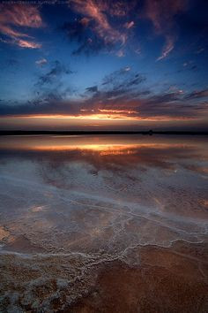 Lacy sea at sunset.