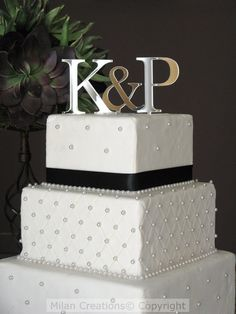 Small Silver Two Initials Cake Topper by MilanCreations on Etsy, $19.99