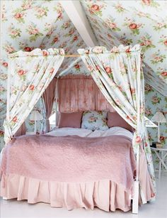 a dowel with curtains could create a private sleeping area even without a 4 poster - 55 Cool Shabby Chic Decorating Ideas | Shelterness