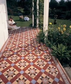 Floor Design, : Captivating Image Of Front Porch Decoration Using Victorian Red Tiles Porch Tile Flooring Including Square White Wood Front Porch Pillar And Wooden Black Iron Garden Bench Victorian Hallway, Victorian Porch, Victorian Tiles, Tiles Uk, Red Tiles, Wall Tiles, Porch Pillars, Colonial, Porch Tile