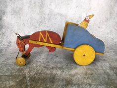 Vintage Toy Craft Mule Cart and Clown wooden Pull Toy : Grove Street Doll Shop | Ruby Lane Wooster Ohio, Pull Toy, Doll Shop, Toy Craft, Wheelbarrow, Ruby Lane, Vintage Toys, Wooden Toys, Cart