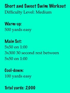 A quick swim workout to try: yard workout. I had a harder swim practice at the age of five! Killer Workouts, Toning Workouts, Fun Workouts, Bike Workouts, Cycling Workout, Sprint Workout, Workout List, Swim Training, Triathlon Training