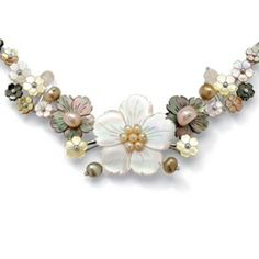 "11.70 TCW Flower-Shaped Shell and Genuine Mother-Of-Pearl Sterling Silver Necklace 18"" at PalmBeach"