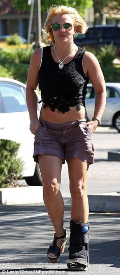 Healing: On Sunday, Britney was spotted on a Malibu beach where she took off her foot brace for part of the day