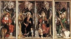 PACHER, Michael (b. ca. 1435, Bruneck, d. 1498, Salzburg)   Click!	 Altarpiece of the Church Fathers  c. 1483 Wood, 212 x 200 cm (central), 216 x 91 cm (each side) Alte Pinakothek, Munich  The picture shows the internal panels of the Altarpiece of the Doctors of the Church: Sts Augustine and Gregory on the central panel, Sts Jerome and Ambrose on the side panels.  The Altarpiece of the Church Fathers was created in 1483 for the Neustift Monastery near Brixen. With it Pacher reached a point…