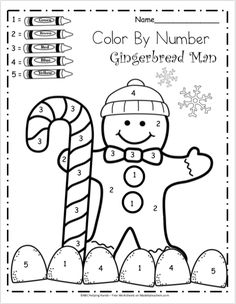 Free Kindergarten Math Worksheets for Winter - Color By Number