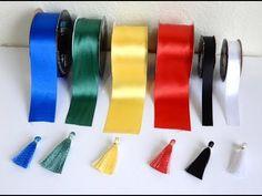 tutorial: miniature tassels from satin ribbon Diy Tassel, Tassel Jewelry, Diy Leather Tassel Keychain, Leather Earrings, Diy Ribbon, Ribbon Work, Jewelry Crafts, Handmade Jewelry, How To Make Tassels