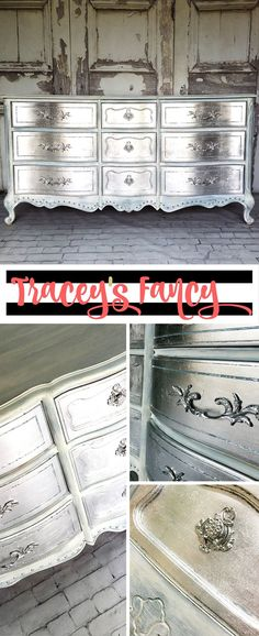 My Glamorous Metallic Silver Dresser and how to get this metallic finish in cool and warm tones, plus how to do a silver leafing on drawers. Fancy Painted Furniture by Tracey's Fancy (How To Paint Furniture) Metallic Painted Furniture, Silver Furniture, Metal Furniture, Furniture Projects, Home Furniture, Furniture Design, Furniture Stores, Furniture Repair, Furniture Online