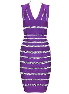 Purple Diamante Embellished Bandage Dress H355Z