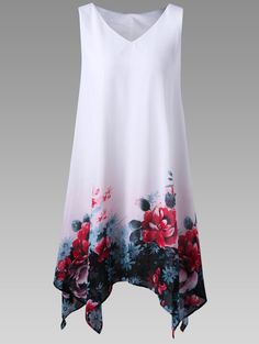 Up to 80% OFF  for Plus Size Floral Handkerchief Dress - White - XL   Plus size,plus size women,plus size fashion for women,plus size dresses,plus size lingere,plus size tops,plus size swimwear,plus size clothing,dress,dresses,maxi dresses,casual dresses,prom dresses,cocktail dresses,wedding dresses,midi dresses,mini dresses.