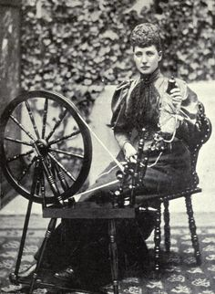 Alexandra, Pss of Wales and an Spinning Wheel. Mids 1890s.