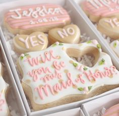 Talk about cuteness overload! How cute are these bridesmaid proposal cookies? Your wedding party will love the cute floral designs and the delicious sweet taste of these treats! wedding party Bridesmaid Proposal Box - Money Can Buy Lipstick Brides Maid Proposal, Bridesmaid Proposal Box, Junior Bridesmaid Gifts, Brides Maid Gifts, Bridesmaid Boxes, Gifts For Wedding Party, Diy Wedding, Wedding Parties, Wedding Ideas