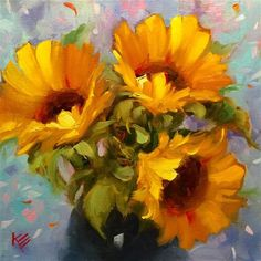 "Daily Paintworks - ""Sunflower Joy"" - Original Fine Art for Sale - © Krista Eaton Abstract Flowers, Watercolor Flowers, Sunflower Art, Fine Art Auctions, Pastel Drawing, Paintings I Love, Fine Art Gallery, Wallpaper, Photos"
