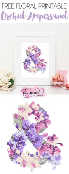 Free Printable Orchid Ampersand | DawnNicoleDesigns.com
