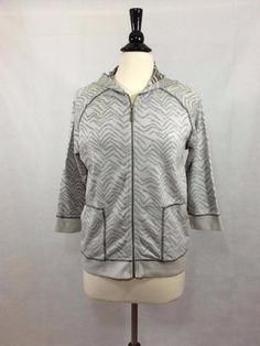 CHICO'S Zenergy Zippered Inside Out Hoodie Gray Size 2 = 12/14 Womens Cotton EUC #Chicos #Hoodie