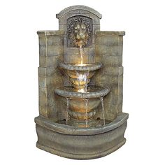 The Saint Remy Lion Corner Fountain from Design TOSCANO boasts traditional flair that is ideal for a corner of a garden or patio space. The integrated pump design streams water from the lion's mouth into sculpted urns below. Large Outdoor Fountains, Indoor Water Fountains, Indoor Fountain, Garden Fountains, Patio Water Fountain, Tabletop Fountain, Water Fountain Design, Indoor Waterfall, Corner Garden
