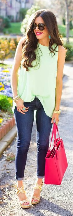 Green Lime Top/skinny jeans
