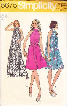 1973 Halter Neck Tent Mini Maxi Disco or Boho Dress Vintage Pattern