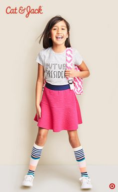 Say hello to Cat & Jack, kids' clothing with an imagination of its own. Only at Target. Knee-high socks are back! And just one of the ultra adorbs pieces from the Cat & Jack clothing line. Loving the sporty meets stylish girls' look going on here. Pair the perfect Graphic Tee with this Must-Have Knit Skirt and the socks and you're good to go summering, adventuring and more. P.S. You should see the cute looks for boys too. Shop the collection in stores and online.