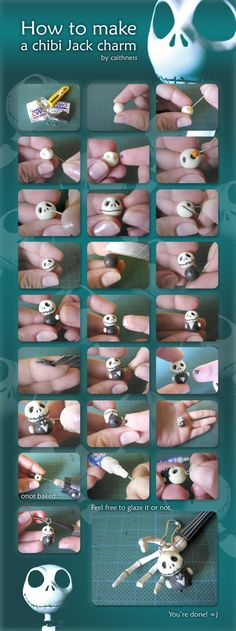 Turorial : How to make a chibi Jack Skellington polymer clay / Tutoriel : Réaliser Jack Skellington en pâte polymère