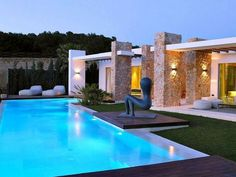 Hotel & Villa: Calaconta, Cozy H Shapes Villa in Ibiza, Spain, by Maged Bermawi. Stunning Swimming Pool Design with Art Statue and Two Cozy Sofas Swimming Pool Designs, Swimming Pools, Exterior Design, Interior And Exterior, Ideas De Piscina, Outdoor Pool, Outdoor Decor, Backyard Patio, Outdoor Spaces