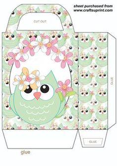 Spring owl gift bag 1 on Craftsuprint designed by Stephen Poore -