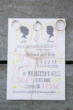 Whimsical wedding invitation: http://www.stylemepretty.com/california-weddings/livermore/2015/02/18/whimsical-autumn-wedding-at-murrietas-well/ | Photography: Jasmine Lee - http://jasmineleephotography.com/