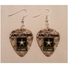US Army military camo Guitar Pick Earrings ($6) ❤ liked on Polyvore