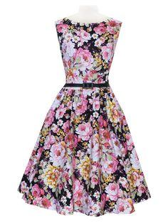 Audrey Hepburn Style Retro Peony Printed Sleeveless Vintage Swing Black Party Dress Plus Size
